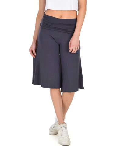 On The Lounge Fold Over Gaucho Charcoal Capri Pants