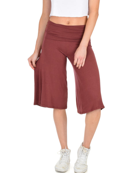 On The Lounge Fold Over Gaucho Marsala Capri Pants
