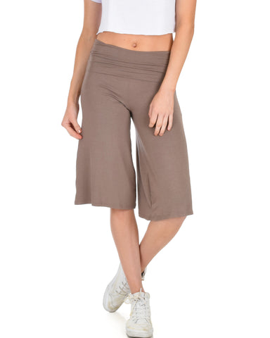On The Lounge Fold Over Gaucho Taupe Capri Pants