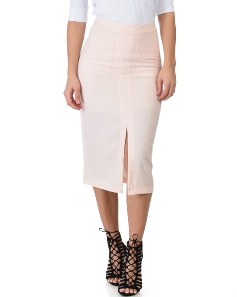 High Waist Pink Pencil Skirt With Pockets