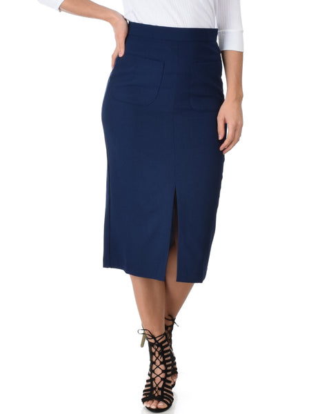 High Waist Navy Pencil Skirt With Pockets