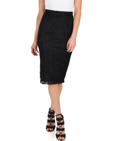 Live For The Night Black Lace Pencil Skirt