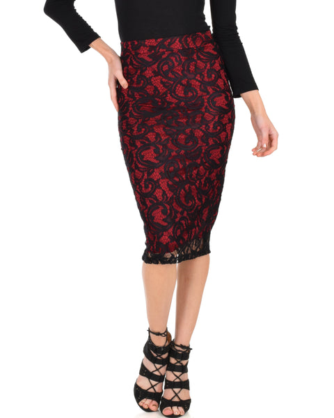 Live For The Night Burgundy Lace Pencil Skirt