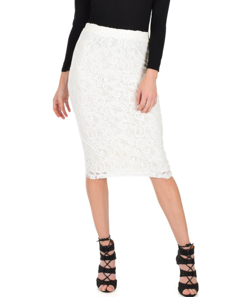 Live For The Night Ivory Lace Pencil Skirt