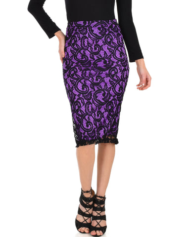 Live For The Night Purple Lace Pencil Skirt