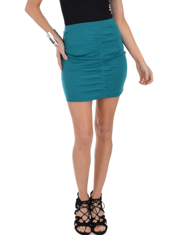 Keep It Moving Ruched Green Pencil Skirt
