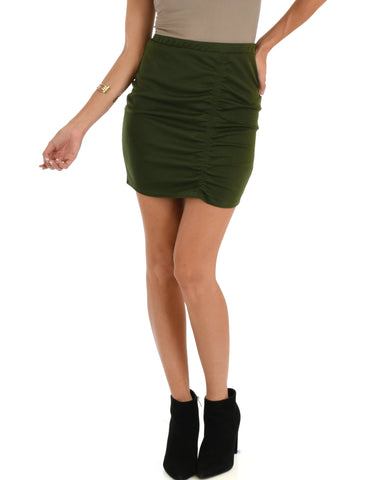Keep It Moving Ruched Olive Pencil Skirt