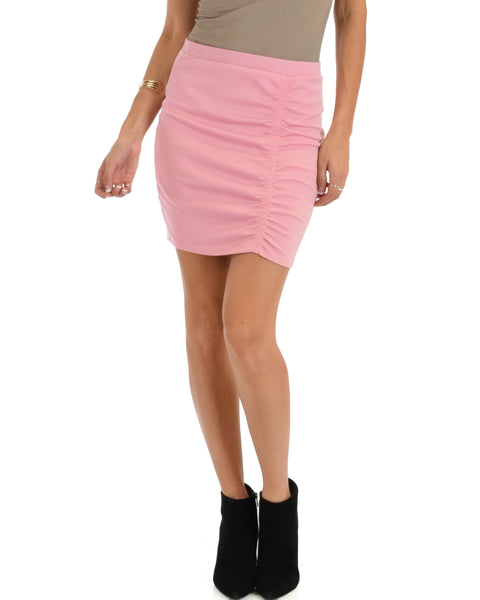 Keep It Moving Ruched Pink Pencil Skirt