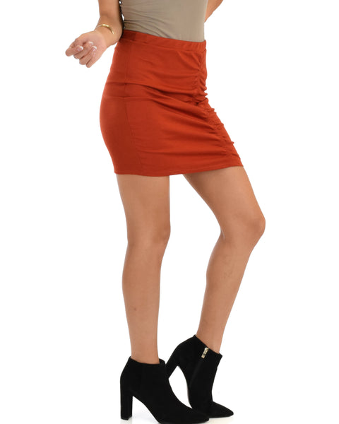 Keep It Moving Ruched Rust Pencil Skirt