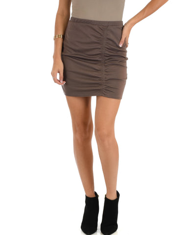 Keep It Moving Ruched Taupe Pencil Skirt