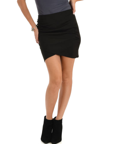 Pencil It In Ruched Black Pencil Skirt