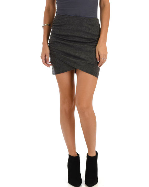 Pencil It In Ruched Charcoal Pencil Skirt