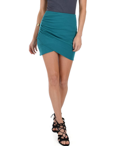 Pencil It In Ruched Green Pencil Skirt