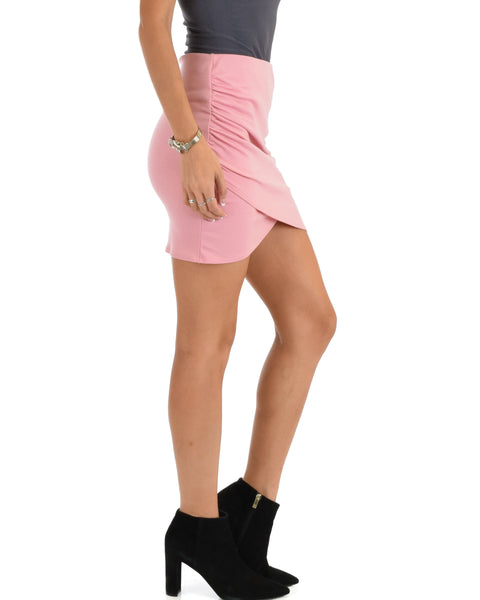 Pencil It In Ruched Pink Pencil Skirt