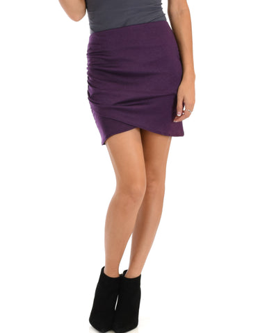Pencil It In Ruched Purple Pencil Skirt