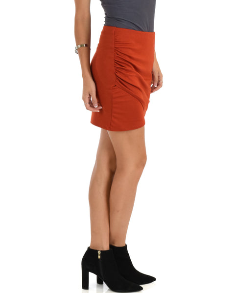 Pencil It In Ruched Rust Pencil Skirt