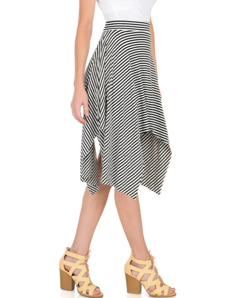 Breeze Away Raw Edge Black Striped Skirt