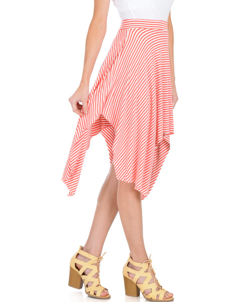 Breeze Away Raw Edge Coral Striped Skirt