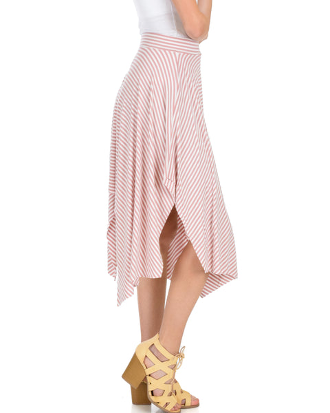 Breeze Away Raw Edge Mauve Striped Skirt