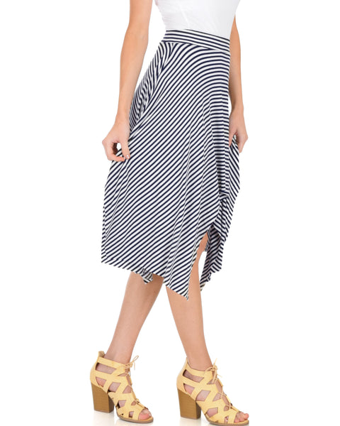 Breeze Away Raw Edge Navy Striped Skirt