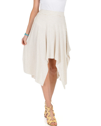 Breeze Away Raw Edge Taupe Striped Skirt