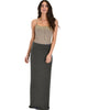 Casablanca Fold Over Charcoal Maxi Skirt - Full Image