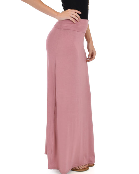Casablanca Fold Over Mauve Maxi Skirt