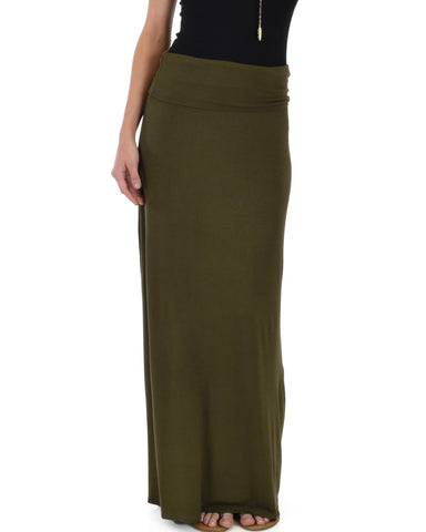 Casablanca Fold Over Olive Maxi Skirt