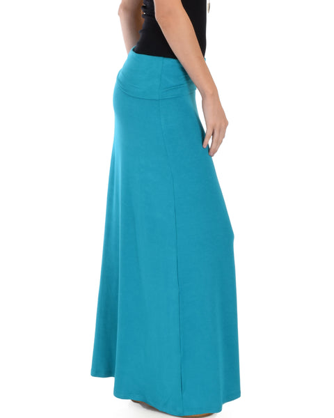 Casablanca Fold Over Teal Maxi Skirt