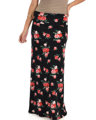 Casablanca Fold Over Black Floral Maxi Skirt