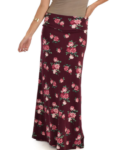 Casablanca Fold Over Burgundy Floral Maxi Skirt