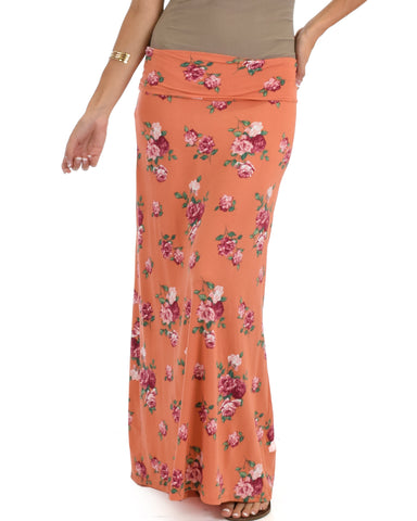 Casablanca Fold Over Orange Floral Maxi Skirt