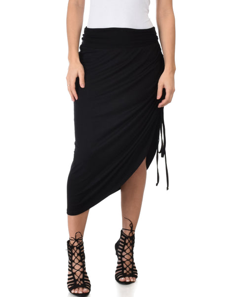 Tie That Knot Fold Over Black Maxi Skirt