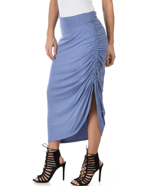 Tie That Knot Fold Over Blue Maxi Skirt