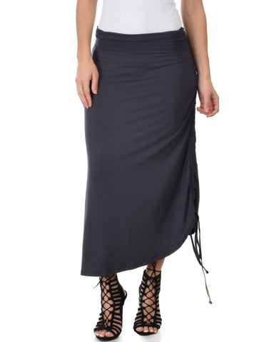 Tie That Knot Fold Over Charcoal Maxi Skirt