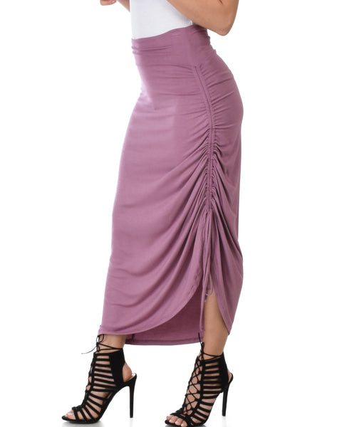 Tie That Knot Fold Over Mauve Maxi Skirt