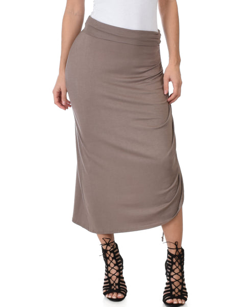 Tie That Knot Fold Over Taupe Maxi Skirt