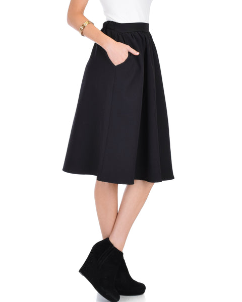 Dance Montage A-Line Pocket Black Skirt