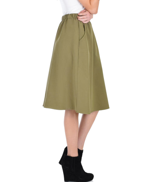 Dance Montage A-Line Pocket Olive Skirt