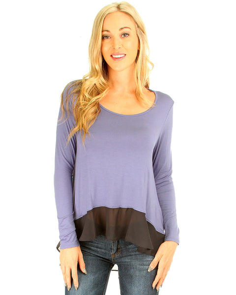 Contrast Fabric Blue Long Sleeve Top