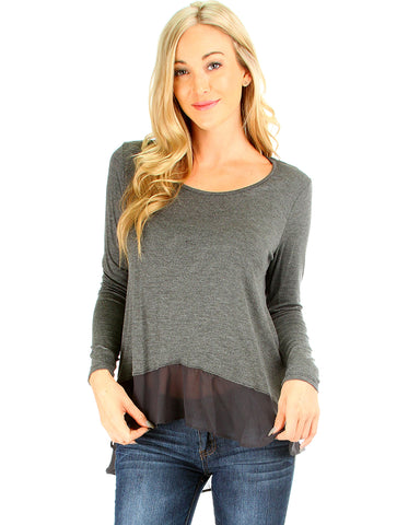 Contrast Fabric Charcoal Long Sleeve Top