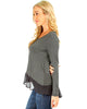 Contrast Fabric Charcoal Long Sleeve Top - Side Image