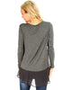 Contrast Fabric Charcoal Long Sleeve Top - Back Image