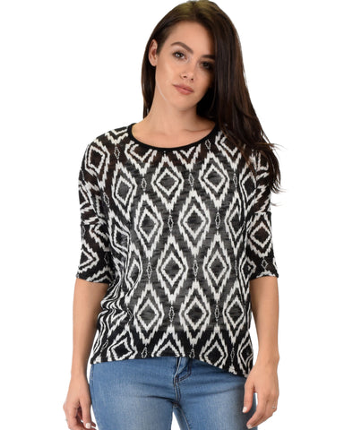 French Terry 3/4 Sleeve Black Patterned Tunic Top