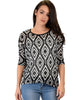 French Terry 3/4 Sleeve Black Patterned Tunic Top - Main Image