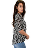 French Terry 3/4 Sleeve Black Patterned Tunic Top - Side Image