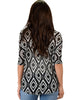 French Terry 3/4 Sleeve Black Patterned Tunic Top - Back Image