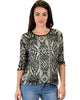 French Terry 3/4 Sleeve Olive Patterned Tunic Top - Main Image