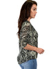 French Terry 3/4 Sleeve Olive Patterned Tunic Top - Side Image