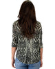 French Terry 3/4 Sleeve Olive Patterned Tunic Top - Back Image